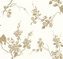 SS2590 Metallic Gold White Imperial Blossoms Branch Wallpaper