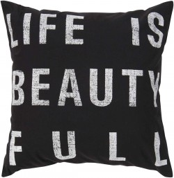 Life is Beauty Black, Tan Pillow | ST082-1818P