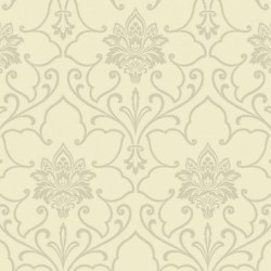 SL5708 Metallic Grey Silver Scroll Medallion York Wallpaper