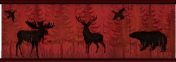 Saylorville Dark Red Lawndale Wallpaper Border