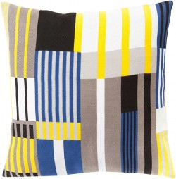 Iconographic Yellow, Grey, Blue Pillow | TO003-1818P