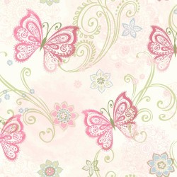 Fantasia Pink Boho Butterflies Scroll Wallpaper | TOT47151