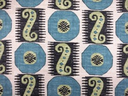 Blue Green Ethnic Geometric Souk Treasure Indian Blue Pkaufmann Fabric