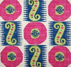 Pink Blue Green Ethnic Geometric Souk Treasure Orchid Pkaufmann Fabric