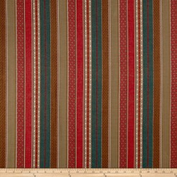 Gypsy Stripe Red Turquoise Khaki Laura Kiran Fabric