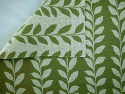 Leaf Doublecloth Green Natural Laura Kiran Fabric