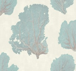 VA1209 Coral Couture Aqua Wallpaper