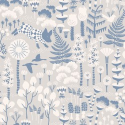 WV1454 Hoppet Grey Folk Wallpaper