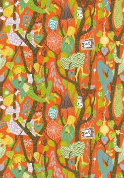 WV1755 Melodi Orange Folk Wallpaper