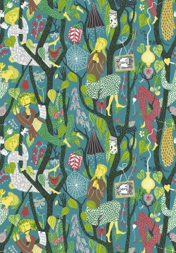 WV1756 Melodi Teal Folk Wallpaper