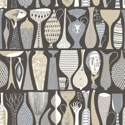 WV1758 Pottery Black Folk Wallpaper