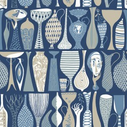 WV1759 Pottery Blue Folk Wallpaper