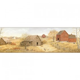 FFR65392B Beige Homestead Scenic Portrait Wallpaper Border