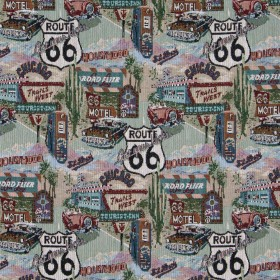 1011 Route 66 Fabric by Charlotte Fabrics