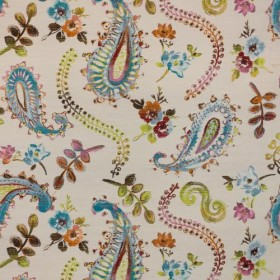 Watercolor Paisley Sea Coral RM Coco Fabric