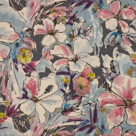 Floral Splash Pink Flannel RM Coco Fabric