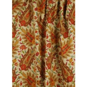 Pratt Jewel Red Brown Floral Fabric