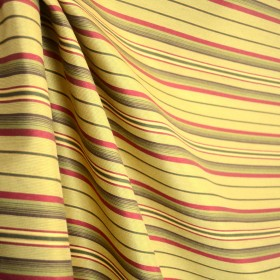 Olive Green Yellow Gold Brown Red Stripe Upholstery Fabric