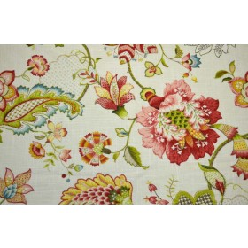 Ophelia Blossom Jacobean Floral Linen Fabric