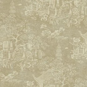 AD1256 Cream Asian Pagoda Chinoiserie Toile on Metallic Taupe Wallpaper