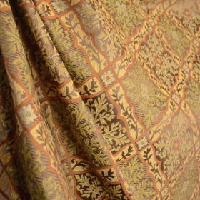 Brown Rust Green Gold Ornate Diamond Damask Fabric