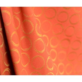 Red Orange Contemporary Upholstery Fabric With Circles