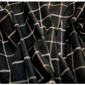 Thornhill Charcoal Grey Window Pane Herringbone Upholstery Fabric