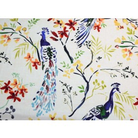 Large Bird Floral Fabric Tail Feathers Jewel