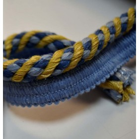REMNANT Blue Gold Cord Trim .325 Inches x 1.25 Yards