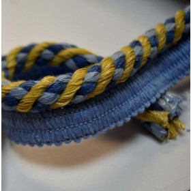 REMNANT Blue Gold Cord Trim .325 Inches x 24 Yards