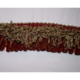 REMNANT Red Gold Looped Trim 2.25 inches x 13.5 yards