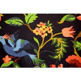REMNANT Black Bird Floral Fabric 55 inches x 4 yards