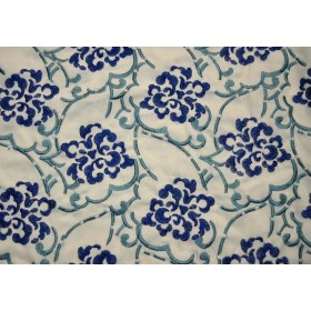 REMNANT Blue Embroidered Fabric 51 inches x .75 yards