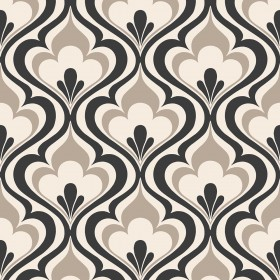 Lola Black Ogee Bargello Wallpaper
