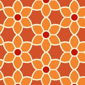 Blossom  Red Geometric Floral Wallpaper