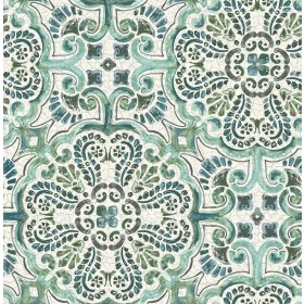 2540-24044 Florentine Green Tile Wallpaper