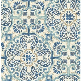 2540-24046 Florentine Blue Tile Wallpaper