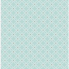 Kinetic Turquoise Geometric Floral Wallpaper