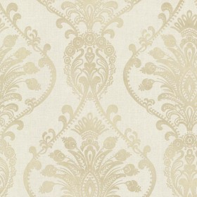 Noble Fog Ornate Damask Wallpaper