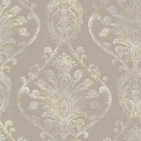 Noble Taupe Ornate Damask Wallpaper