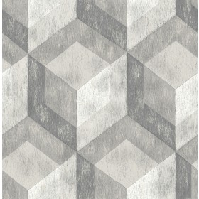 Rustic Wood Tile Ash Geometric Wallpaper