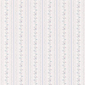 For Your Bath III Ermes Blue Delicate Floral Pinstripe Wallpaper
