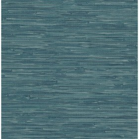 For Your Bath III Natalie Teal Faux Grasscloth Wallpaper