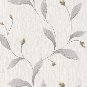 For Your Bath III Nephi Silver Leaf Texture Wallpaper