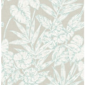 2744-24106 Fiji Turquoise Floral Wallpaper