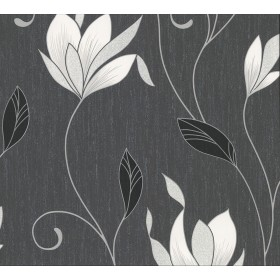 2834-M0783 Anais Charcoal Floral Trails Wallpaper
