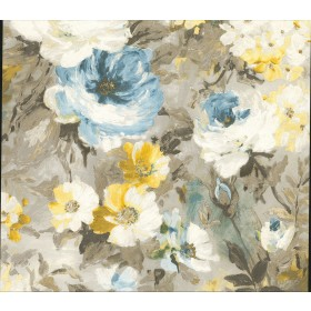 2835-SY5112P Macau Blue Painterly Floral Wallpaper
