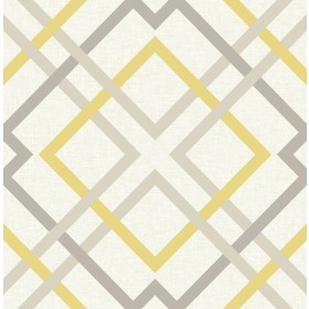 2901-22652 Saltire Emile Yellow Lattice Wallpaper