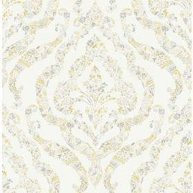 2901-25401 Featherton Mustard Floral Damask Wallpaper