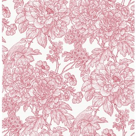 2901-25410 Birds of Paraside Breeze Red Floral Wallpaper